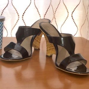 Franco Sarto Chocolate Patent Leather Wedge Sandal